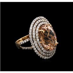 9.97ct Morganite and Diamond Ring - 14KT Rose Gold