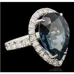 14KT White Gold 15.46ct Topaz and Diamond Ring