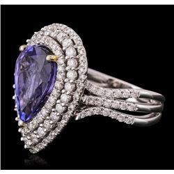 14KT White Gold 5.16ct Tanzanite and Diamond Ring