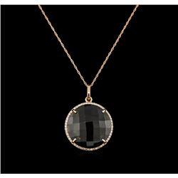 15.00ct Smokey Quartz and Diamond Pendant With Chain - 14KT Rose Gold