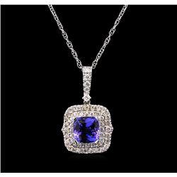 5.12ct Tanzanite and Diamond Pendant With Chain - 14KT White Gold