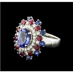 14KT White Gold 3.58ct Tanzanite, Sapphire, Ruby and Diamond Ring
