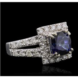 14KT White Gold 3.08ct Sapphire and Diamond Ring