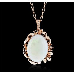 14KT Rose Gold 15.31ct Opal and Diamond Pendant With Chain