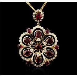 14KT Yellow Gold 9.82ctw Ruby and Diamond Pendant With Chain