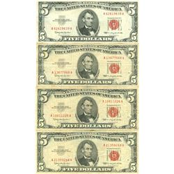 1963 $5 Red Seal Bill Lot of 4