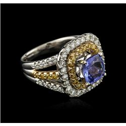 14KT Two-Tone Gold 2.43ct Tanzanite and Diamond Ring