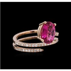 1.12ct Pink Tourmaline and Diamond Ring - 14KT Rose Gold
