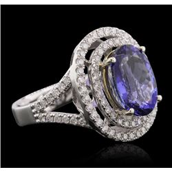 14KT Two-Tone 4.50ct Tanzanite and Diamond Ring