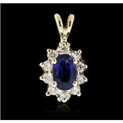 14KT Yellow Gold 0.70ct Sapphire and Diamond Pendant