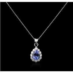 14KT White Gold 2.43ct Tanzanite and Diamond Pendant With Chain