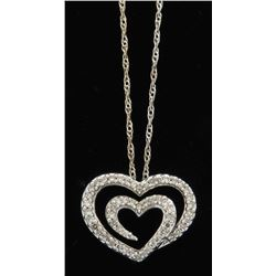 0.25ctw Diamond Heart Pendant With Chain - 14KT White Gold