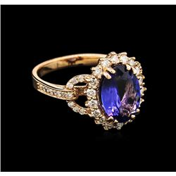 2.92ct Tanzanite and Diamond Ring - 14KT Rose Gold