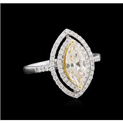 1.37ctw Light Yellow Diamond Ring - 18KT White Gold
