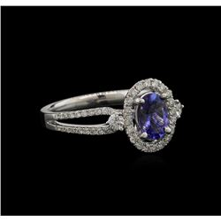 0.70ct Tanzanite and Diamond Ring - 18KT White Gold