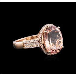 14KT Rose Gold 6.89ct Morganite and Diamond Ring