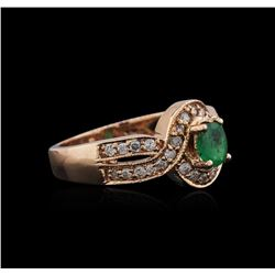 14KT Rose Gold 0.42ct Emerald and Diamond Ring