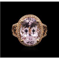 14KT Yellow Gold 12.35ct Kunzite and Diamond Ring
