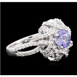 14KT White Gold 1.17ct Tanzanite and Diamond Ring