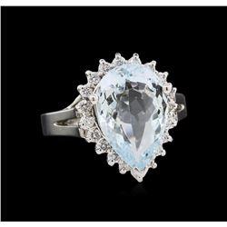4.37ctw Aquamarine and Diamond Ring - 14KT White Gold