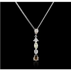 14KT White Gold 1.74ctw Diamond Pendant With Chain