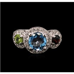 2.45ct Aquamarine, Peridot, Garnet and Diamond Ring - 14KT White Gold