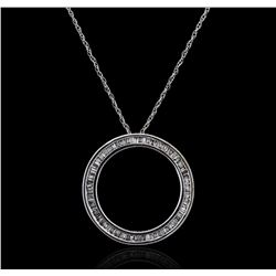 10KT White Gold 0.35ctw Diamond Pendant With Chain