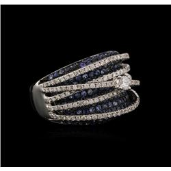 2.02ctw Blue Sapphire and Diamond Ring - 14KT White Gold