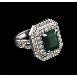 14KT White Gold 2.96ct Emerald and Diamond Ring
