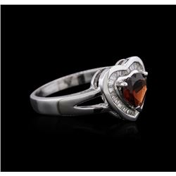 14KT White Gold 0.87ct Garnet and Diamond Ring