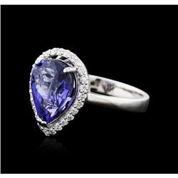 14KT White Gold 3.76ct Tanzanite and Diamond Ring