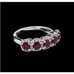 1.80ctw Ruby and Diamond Ring - 14KT White Gold