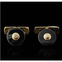 18KT Yellow Gold Onyx and Diamond Cuff Links