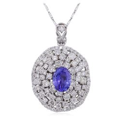 14KT White Gold 2.27ct Tanzanite and Diamond Pendant With Chain