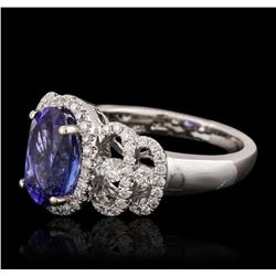 18KT White Gold 2.15ct Tanzanite and Diamond Ring