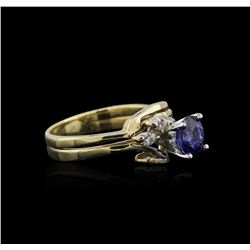 14KT Yellow Gold 1.07ct Sapphire and Diamond Ring