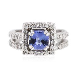 14KT White Gold 1.61ct Tanzanite and Diamond Wedding Ring Set
