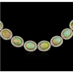 48.17ctw Opal and Diamond Necklace -  14KT Yellow Gold