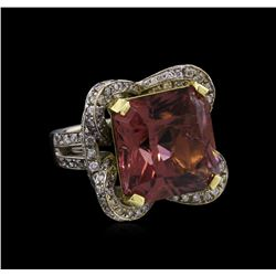 20.97ct Pink Tourmaline and Diamond Ring - 18KT White Gold