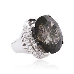 14KT White Gold 56.17ct Tourmaline and Diamond Ring