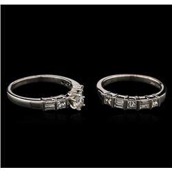 1.45ctw Diamond Wedding Ring Set - Platinum