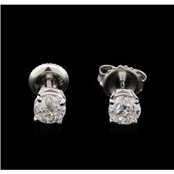 1.09ctw Diamond Solitaire Earrings - 14KT White Gold