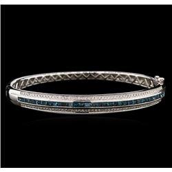 2.01ctw Fancy Blue Diamond Bangle Bracelet - 14KT White Gold