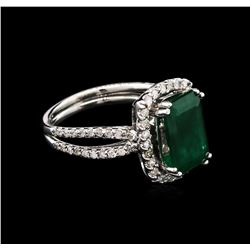 3.08ct Emerald and Diamond Ring - 14KT White Gold