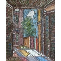 PEPIN, Jean Paul, 1897-1983.   Vieux Montréal .  Huile sur panneau, signée.  Signée, titrée et da...