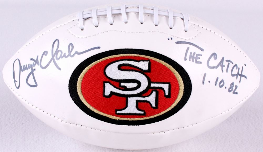2d71d46c1 Image 1   Dwight Clark Signed 49ers Super Bowl Stats White Panel Football  Inscribed