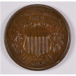 1864 2-CENT PIECE LARGE MOTTO,  UNC BROWN