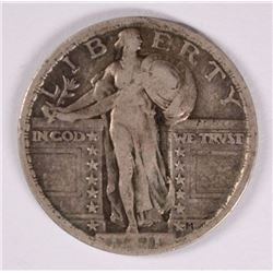 1921 STANDING LIBERTY QUARTER, VF