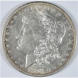 1894-O MORGAN SILVER DOLLAR, CHOICE AU