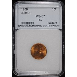 1909 LINCOLN CENT, NNC GRADED GEM BU RED